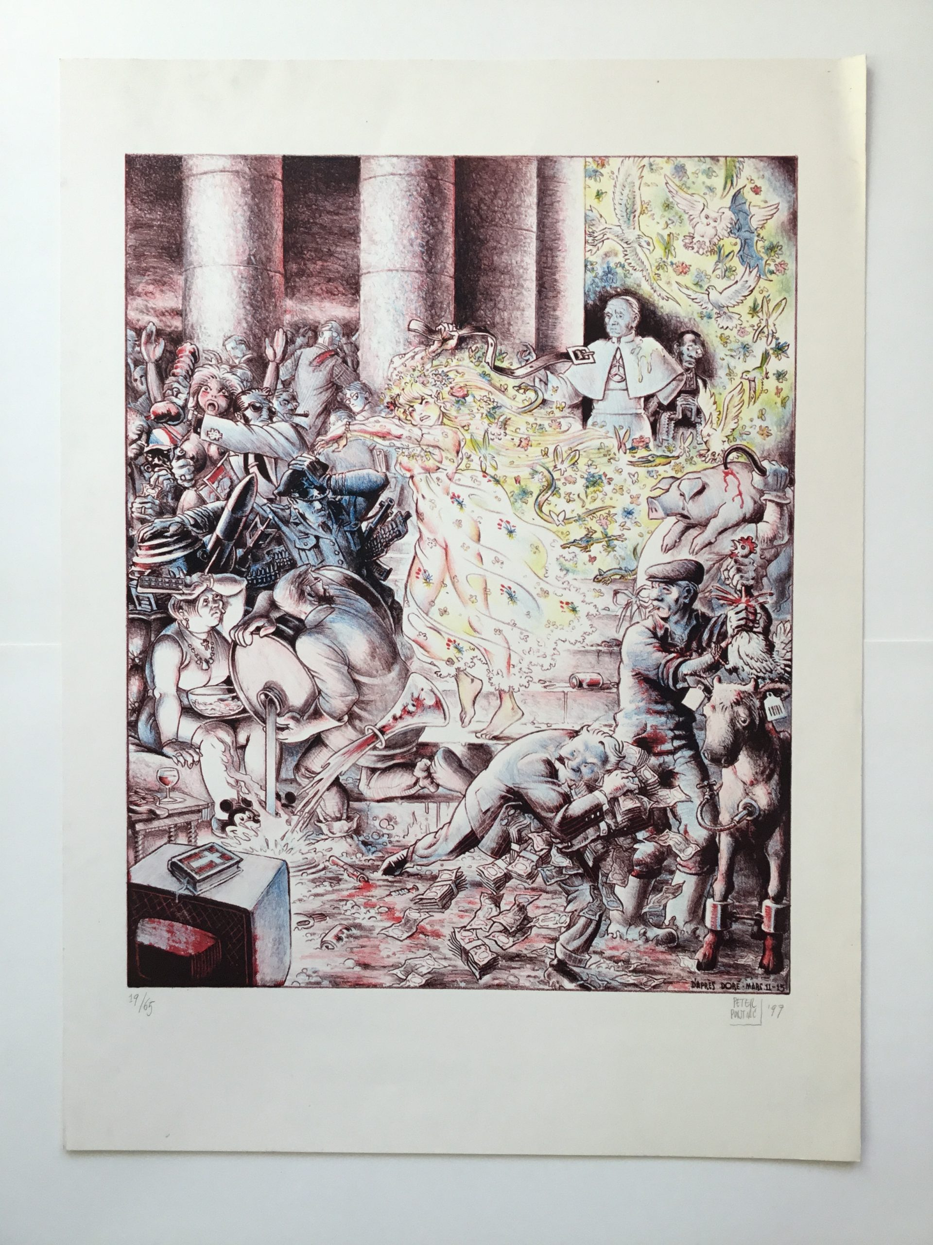 Jezus verdrijft de kooplieden uit de tempel (naar Doré)